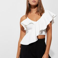 Ponte fabric Asymmetric shoulder frill detail Cami shoulder strap Cropped length Fitted V neck and back Our model wears a UK 8 and is tall H M Outfits, Dressy Outfits, Fashion Outfits, Fashion Weeks, Spring Outfits, Salsa Outfit, Baby Summer Dresses, Lace Denim Shorts, Birthday Outfit For Women
