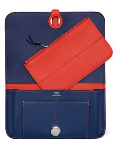 Hermes - Dogon Wallet/Purse in Saphire Blue and Red Swift Calfskin Leather. Open inside view.