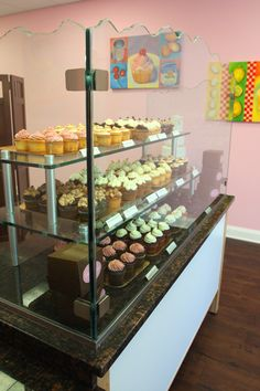 Imagine how delicious these cupcakes must be if they're displayed in this gorgeous glass display case. Cupcakes, River Glass Designs, Rockville, Maryland