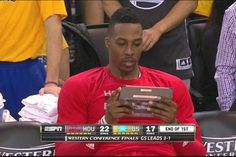 What was Dwight Howard looking at on his tablet?
