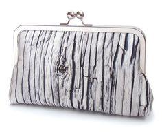 Driftwood embrague bolsa, raya madera, impreso bolsa de seda, blanco y negro, bolso, embrague de boda, madera de granero