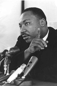 Martin Luther King Jr. at a press conference in Boston, ca. 1964