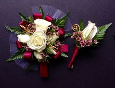Maroon prom corsage and boutonneire by Kristina's Floral Designs