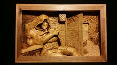 """""""Just Off The Road"""" 21""""x13.5""""x3.0"""" Basswood Purchase here:  http://woodcarving-by-madcarver.myshopify.com/products/just-off-the-road"""