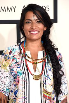 Pin for Later: Up Your Braid Game With the Best Plaits of Red Carpet Season Ana Tijoux at the Grammy Awards 2015 This singer went with a long, loose, bohemian fishtail braid. Let it inspire your festival style! Braid Game, Star Beauty, Carpet Trends, Plaits, Festival Fashion, Festival Style, Celebrity Hairstyles, Red Carpet, Carpet Colors