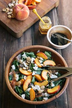 A gourmet salad in less than 20 minutes! #salad #peaches • theVintageMixer.com