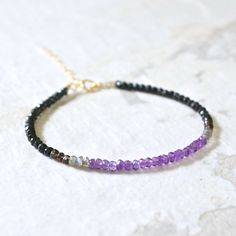 February birthstone: Amethyst ombre gemstone beaded bracelet  lilac & by EshaNewYork