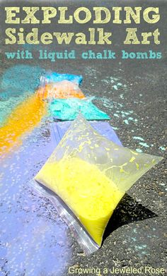 Exploding Sidewalk Chalk ~ just place vinegar, corn starch, food coloring in ziplock with baking soda folded into a paper towel, zip shut, shake, watch