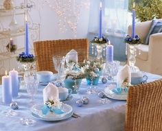 silver and blue christmas decor | adorable light blue christmas table decorations 19 ideas
