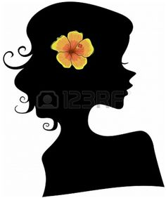 Hibiscus Girl Silhouet Template/ Stencil.  Great Mural (Chalk Paint) for a Vanity Spot in a Girls Room :-) From Lorelyn Medina on 123RF.com