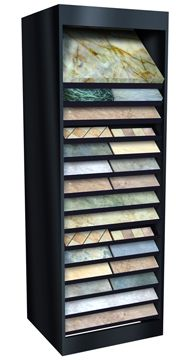 McHandy Rack Showroom Display Shelf System displays different thickness tile samples. Space-saving shelves also hold stone, marble, hardwood. Space Saving Shelves, Tile Showroom, Shelf System, Display Shelves, Hardwood, Lazy Susan, Tower, Home Decor, Ideas