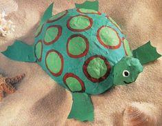 Craft Idea:  Paper Mache Balloon Sea Turtle