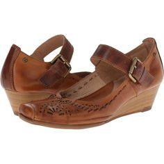 Pikolinos La Palma W4A-5522 Women's Wedge Shoes, Brown (2 465 UAH) ❤ liked on Polyvore featuring shoes, brown, mary jane wedge shoes, famous footwear, wedge heel shoes, mary jane shoes and embellished shoes