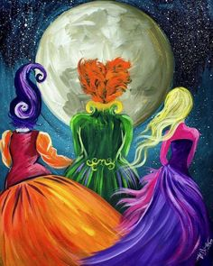 Beginners learn to paint full acrylic art lesson of the Sanderson Sisters from Hocus Pocus. this is a Great Wicked witches painting with a ton of sass. LIVE acrylic painting tutorial for new painters This is a super simple fun halloween Project art Witch Painting, Diy Painting, Painting & Drawing, Acrylic Painting Tutorials, Painting Abstract, Halloween Canvas Paintings, Halloween Painting, Fall Paintings, Fall Halloween