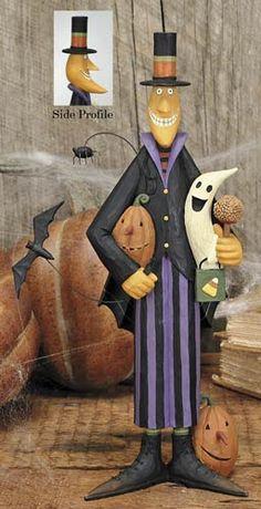 Pumpkin Moon Man Holding Ghost Figurine - Halloween Folk Art & Collectibles – Williraye Studio - $17.50