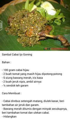 Hi Indonesian Sambal Recipe, Indonesian Cuisine, Sambal Sauce, Malay Food, Food Garnishes, Malaysian Food, Asian Cooking, Fabulous Foods, Creative Food