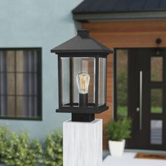 This kind of photo can be an inspiring and magnificent idea Lantern Post, Led Lantern, Metal Lanterns, Wall Lantern, Outdoor Lantern, Modern Post Lights, Outdoor Post Lights, Outdoor Lighting, Lighting Ideas