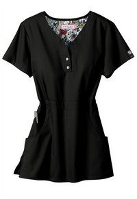 Koi Justine button trim scrub top. - black