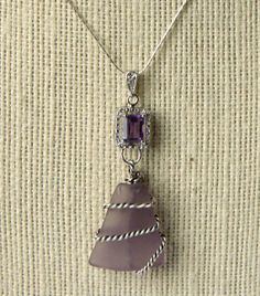 Amethyst or Lavender Sea Glass Pendant  with by oceansbounty, $50.00 #sea glass beads & #sea charms: http://www.ecrafty.com/c-780-sea-glass-beads.aspx?pagenum=1===newarrivals=60