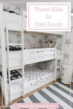 New York City apartments are all about maximizing small spaces. Check out this amazing bedroom makeover: Three Kids In One Room! Sister Bedroom, One Bedroom, Girls Bedroom, Lego Bedroom, Childs Bedroom, Romantic Bedroom Decor, Shared Bedrooms, Kid Bedrooms, Shared Kids Rooms