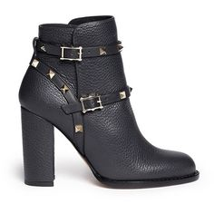 Valentino 'Rockstud' harness pebble leather ankle boots ($775) ❤ liked on Polyvore featuring shoes, boots, ankle booties, booties, black, heels, black heeled ankle booties, black heel boots, harness boots and black booties