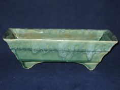 Calif USA 443 Planter/Vintage Blue Green Planter/Rectangle/Vintage California USA Pottery/Drip Pottery by iLikeEclectic on Etsy
