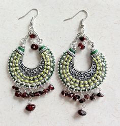 Long Oriental earrings Ethnic crescent earrings by Bombaycotons