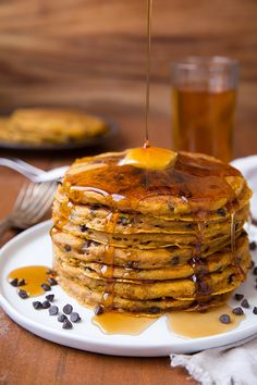 Pumpkin Oat Chocolate Chip Pancakes - Cooking Classy