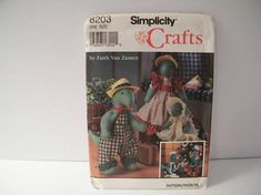 CLOSING SALE Simplicity 8203 Uncut Craft Pattern, Vintage Dinosaurs and clothes for holiday gift giving.