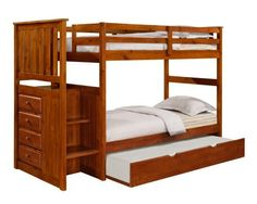 """Mission Stairway Bunk Bed with Trundle - Espresso by DONCO kids. $657.00. Roll Out Trundle is great for sleepovers. Solid wood construction. Built-in Chest (Assembled). FREE Shipping. Interchangeable Stairway. Our Twin over Twin Mission Stairway Bunk Bed with Trundle in Espresso finish is carefully crafted for timeless style and lasting comfort. Expertly constructed of solid wood, the bed measures 65.5"""" high x 98"""" long x 42.5"""" wide. Bottom bunk is 11"""" off the f..."""