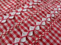 Can't have too much gingham or rick rack! Love how it is sewn on. Solve the ironing problem by sewing on the rick rack with matching thread first. Rick Rack, Embroidery Applique, Cross Stitch Embroidery, Embroidery Patterns, Sewing Patterns, Sewing Hacks, Sewing Tutorials, Sewing Crafts, Sewing Projects