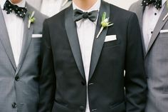 grey suits for groomsmen - black tux for groom