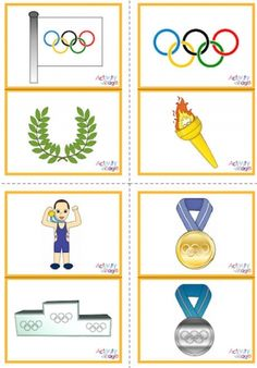 These Olympic picture flash cards print 2 to a page and have 12 cards in total, all with a colourful Olympic themed image. Olympic Games For Kids, Olympic Idea, Card Games For Kids, Games For Toddlers, Games For Teens, Kids Cards, Preschool Games, Activity Games, Winter Sports Games