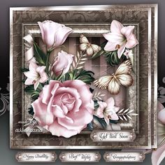 Vintage Pink Roses for All Occasions Mini Kit: 4 sheets for print with decoupage for 3D effect plus few sentiment tags (for your own personal text)
