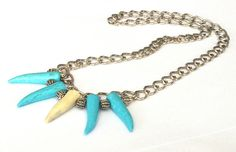 Authentic Native Made - Turquoise Fang Deer Antler Tip - Man Neckace