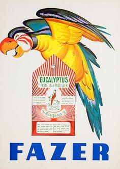 Fazer Eucalyptus poster by Aleksander Lindeberg, Vintage Labels, Vintage Travel Posters, Vintage Ads, Retro Advertising, Vintage Advertisements, Poster Ads, Poster Prints, Retro Housewife, Old Commercials