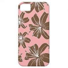 Girly Pretty Pink and Brown Floral Print Line Art iPhone 5 Covers