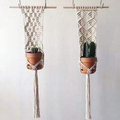 Handmade Macramé Hanging Planter // Medium Size // Natural Cotton // 70s Inspired // Plant Hanger