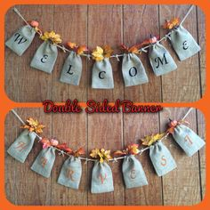 Holiday Double Sided Burlap Sack Banner Fall Burlap by QueensBanners