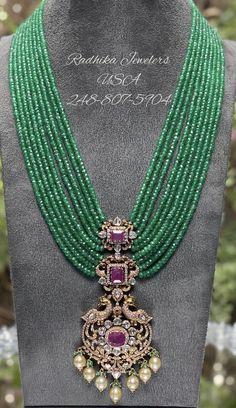Silver Wedding Jewelry, Silver Jewellery Indian, Gold Jewelry Simple, Beaded Jewellery, Diamond Jewellery, Emerald Necklace, Emerald Jewelry, Pearl Jewelry, Beaded Necklace
