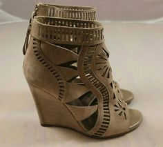 Sergio Rossi Beige Suede Geo Cut Out Open Toe Wedges Size 38 | eBay