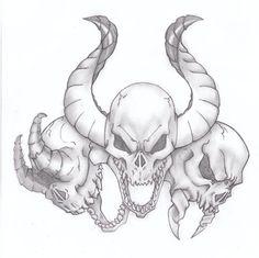 See no evil, Hear no evil, Speak no evil skull tattoo design (15)