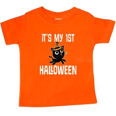 Halloween Baby T-Shirt has black cat in striped witch hat with it's my 1st…