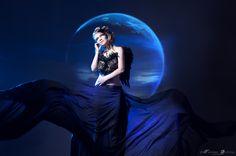 _ by Tatiana Quetzal on Lover Dress, Moon Lovers, Blue Tones, Blue Moon, Photo Manipulation, Fantasy Art, Dark Blue, Disney Characters, Fictional Characters