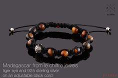 Madagascar tiger eye silver shamballa bracelet by lechiffrejewels