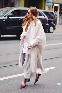 MAJA WYH, Coat: The Line & Dot . Shirt: Vintage . Pants: ODEEH . Shoes: SchoShoes Bag: Elisabetta Franchi . Silk Scarf: VYVYN Hill by Maja