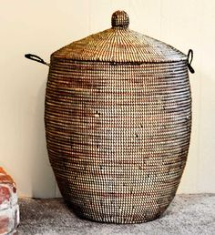 Large Woven African Basket with Lid - Black - Basket Handmade in Africa - Swahili Modern - 3