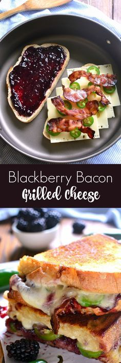 This Blackberry Bacon Grilled Cheese is the perfect combination of savory and sweet! Made with Swiss cheese, blackberry jam, fresh jalapeños, and crispy bacon, it's a must try for ALL sandwich lovers! (recipes for snacks butter) Think Food, I Love Food, Good Food, Yummy Food, Healthy Food, Little Lunch, Soup And Sandwich, Sandwich Recipes, Sandwich Ideas
