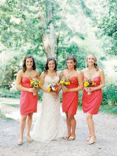 Love these bright watermelon color bridesmaid dresses. Eco-Friendly North Carolina Farm Wedding