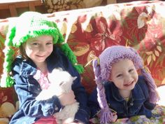 Cabbage Patch Hats I made for these two beautiful little girls. Free pattern link.